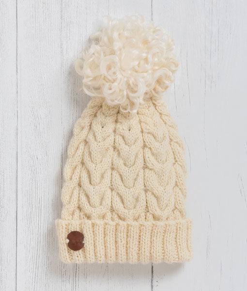 Luxury Pom Pom Hat - Cream  46d735be36b
