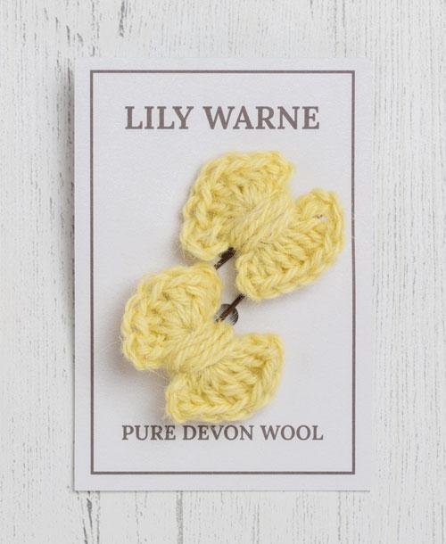 Darling Bow Hairgrips Lemon