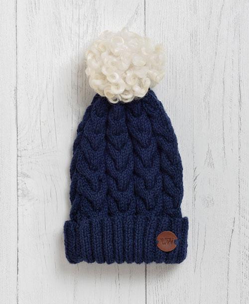 Bovey Blue Pom Pom Hat