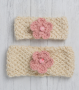 Pink Ewe and Lamb Pure Devon Wool Moss Stitch Headband Kit