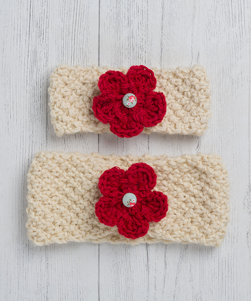 Red Ewe and Lamb Pure Devon Wool Moss Stitch Headband Kit
