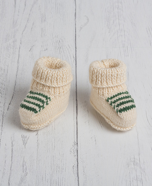 Lily Lamb Baby Booties Green